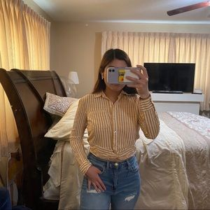 striped cropped buttoned long sleeve